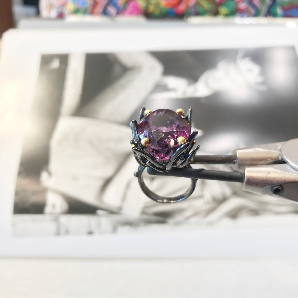 Sterling Silver vintage tulip flower art Statement  Amethyst ring 6