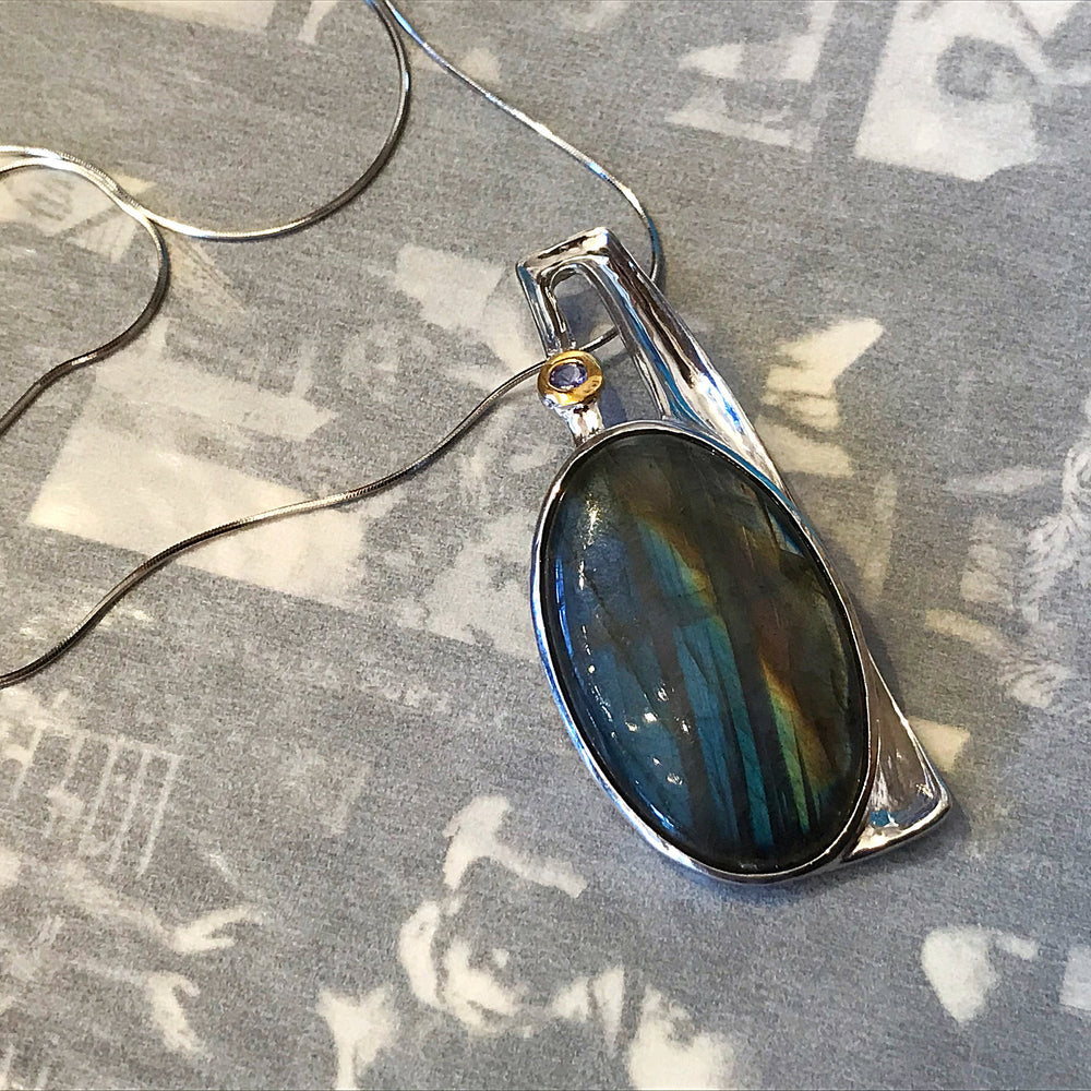 Sterling Silver Labradorite Amethyst Modernist Modern Abstract Pendant Necklace