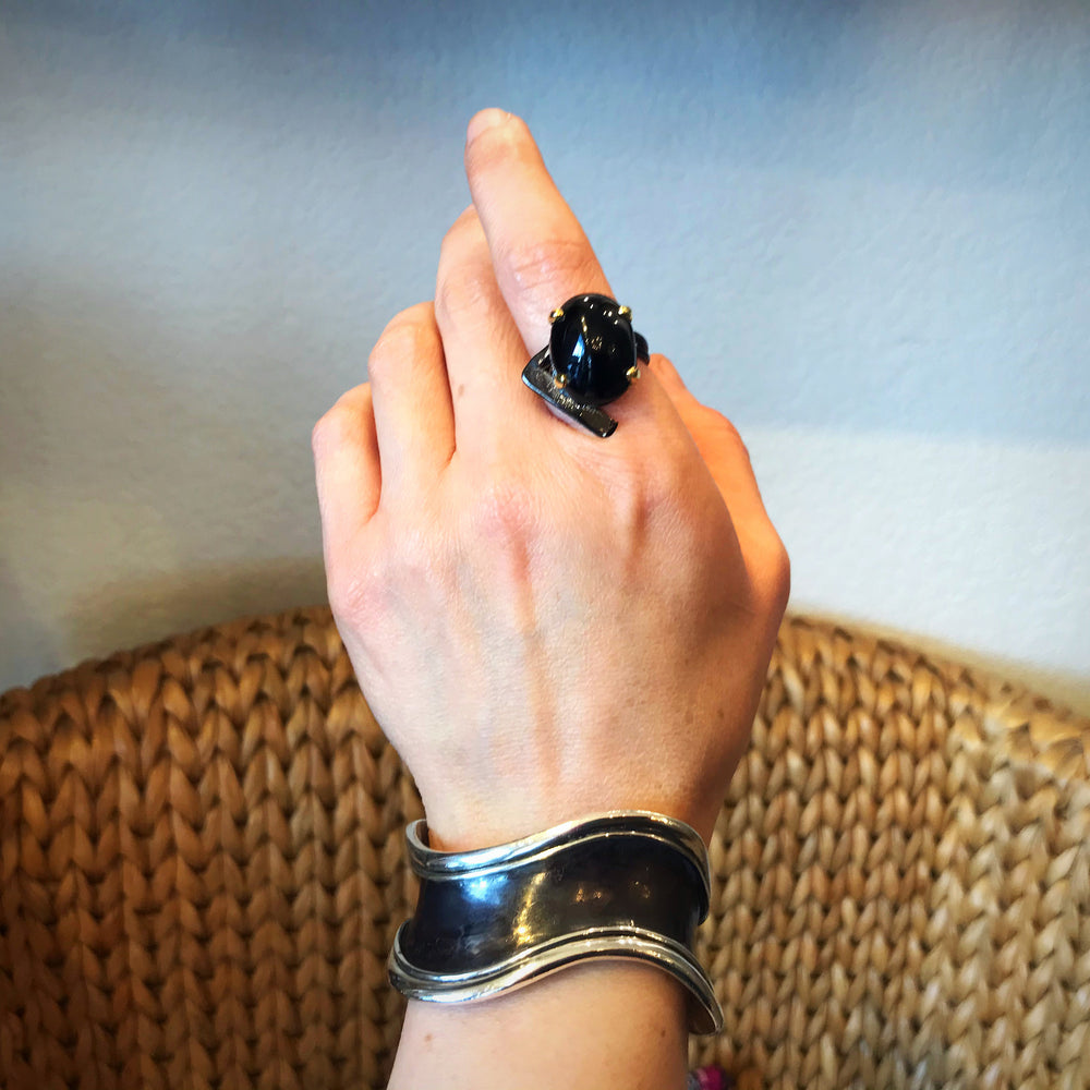 Sterling Silver Huge Modernist Abstract Black Spinel  artisan ring handmade 8