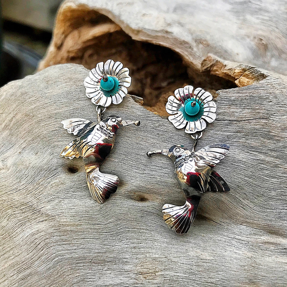 Artisan Handmade Sterling silver Bird hummingbird stud Dangle  earrings turquoise coral Frida Kahlo style