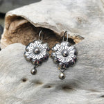 sterling silver dangle studio repousse handmade earrings flowers