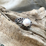 Sterling Silver Rhodium natural pearl red garnet artisan Ring 8.5 statement Handmade Jewelry
