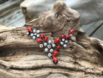 Sterling silver genuine red coral white pearl CZ handmade necklace