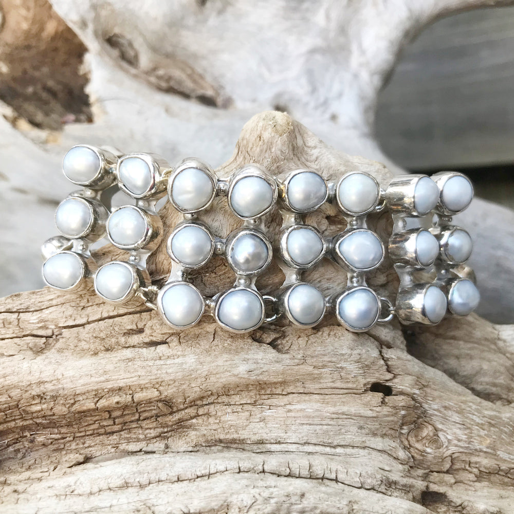 925 sterling silver heirloom statement light gray pearl Cuff Bracelet artisan