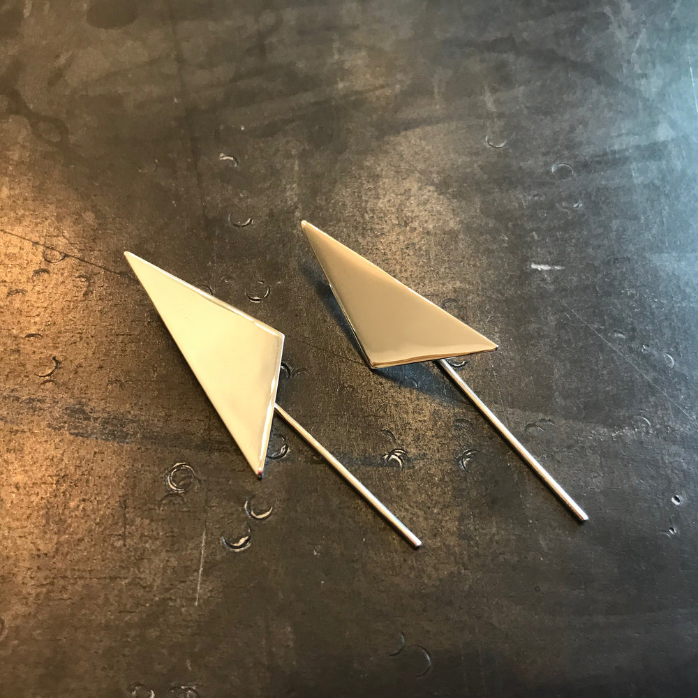 sterling silver Modernist  abstract Geometric triangle handmade Earrings