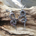 Long Sterling silver Champagne marcasite sapphire ruby emerald  Sterling silver Snake Earrings Jewelry