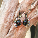 sterling silver Black Spinel Rainbow opal topaz peridot gemstone  Artisan handmade earrings