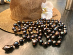 Artisan Handmade Necklace 14mm Black pearl leather lariat baroque pearl wrap around