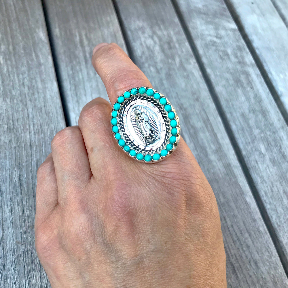 Handmade Sterling Silver statement turquoise Madonna ring Virgen Guadalupe adjustable ring