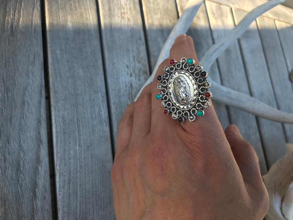 Handmade Sterling Silver statement onyx turquoise coral  Madonna ring Virgen Guadalupe adjustable ring