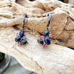 Sterling Silver Rainbow Natural black Opal tourmaline  small stud  Dangle handmade earrings