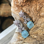 Artisan Handmade Sterling Silver Abstract small CZ Natural aquamarine dangle  earrings