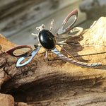 Sterling Silver Black Onyx Vintage modernist Dragonfly brooch pin Taxco collectible jewelry necklace