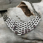 Sterling silver statement runway handmade modernist  choker necklace collar