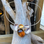 Sterling silver organic large citrine quartz statement pendant necklace