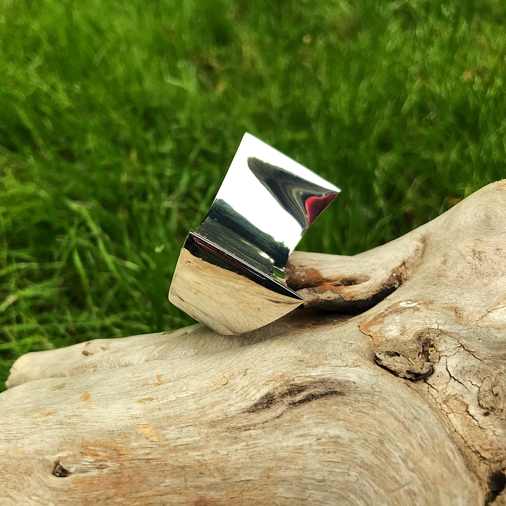 Sterling Silver Modernist Abstract oversize  Statement Ring 6 7 8