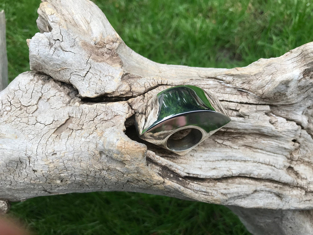Sterling Silver Modernist Abstract oversize  Statement Ring 8