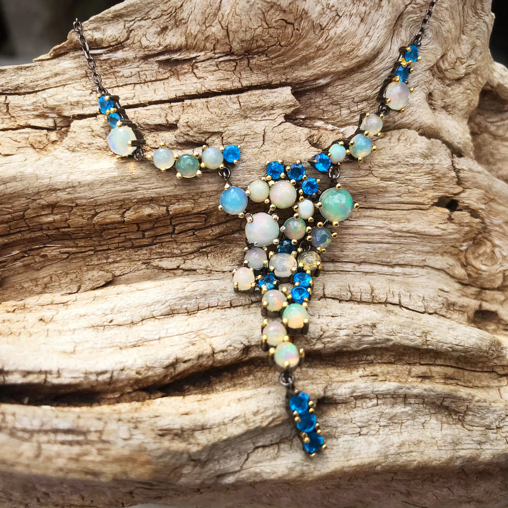 Artisan Natural Rainbow opal apatite Sterling Silver Necklace