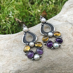Amethyst citrine and pearl sterling silver Artisan handmade  Earrings Jewelry