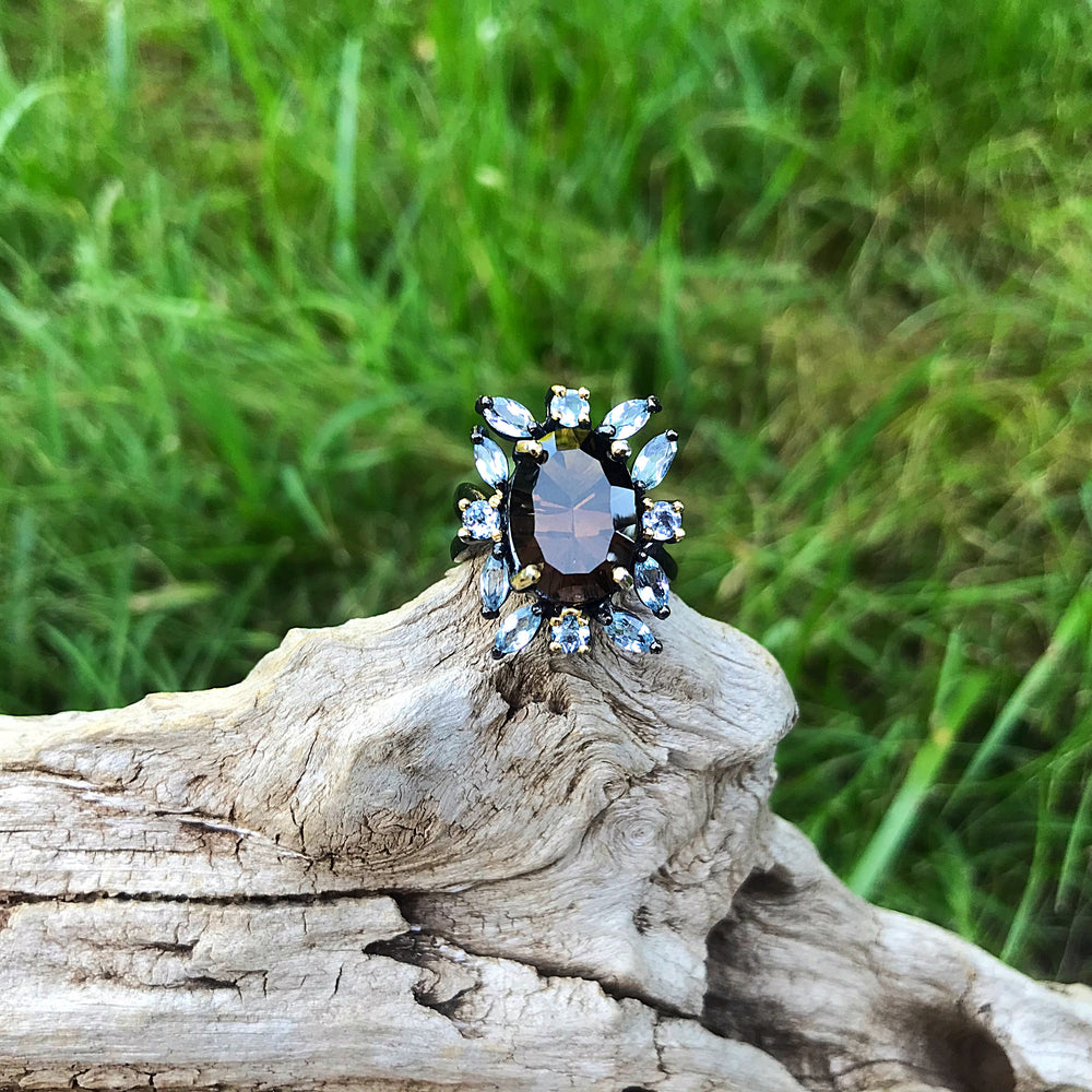 Handmade sterling silver Topaz Smokey Quartz statement  Ring 7