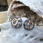 Amethyst abstract modernist   stud gold plate sterling silver Artisan handmade  Earrings Jewelry