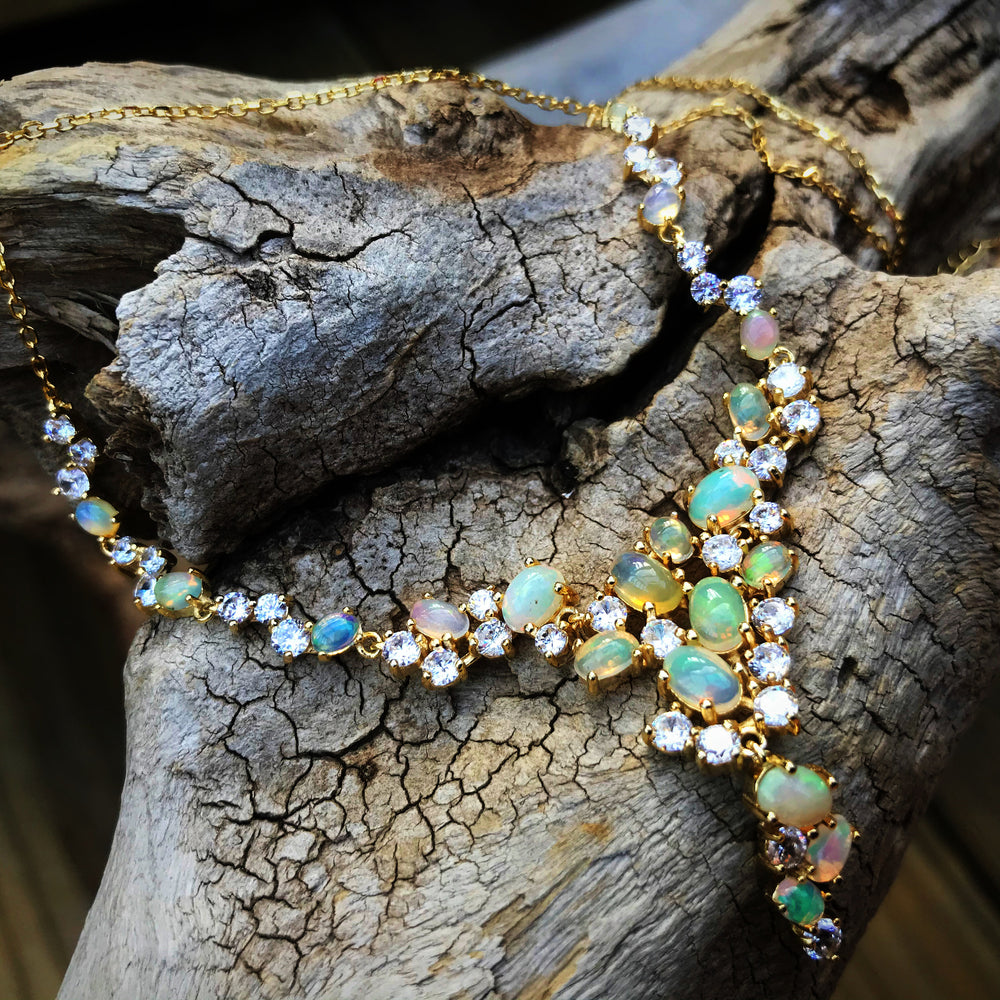 Natural Rainbow opal CZ gold Sterling Silver Necklace