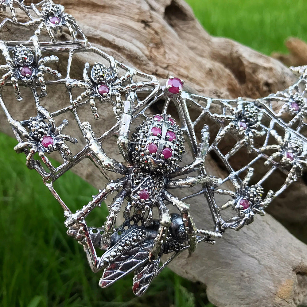 Sterling silver spider web ruby  handmade choker necklace genuine marcasite ruby