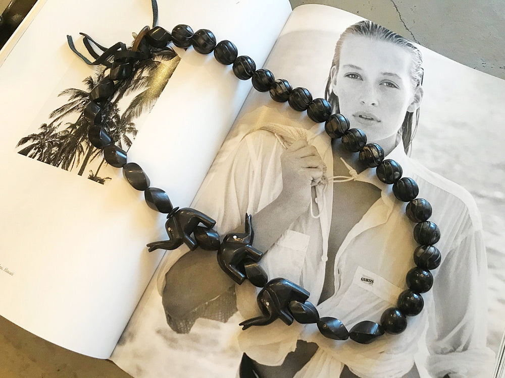 Horn bead and black elephants long statement necklace