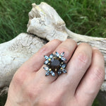 Handmade sterling silver Topaz Smokey Quartz statement  Ring 6