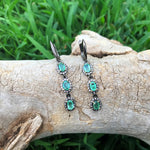 Sterling-silver green emerald CZ  dangle Earrings