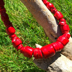 sterling silver Statement Natural Red Coral Vintage Necklace Collar