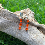 sterling silver orange fire Opal dangle Artisan earrings