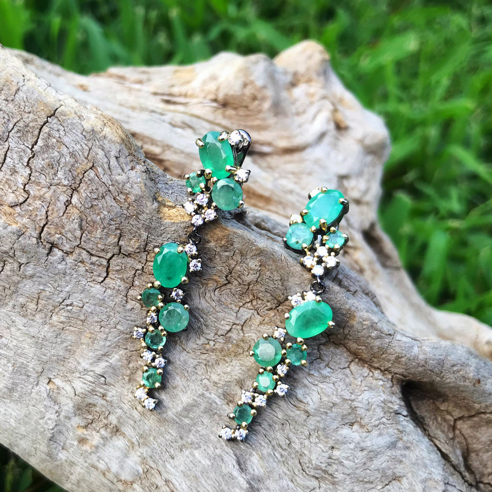sterling silver CZ natural emerald Dangle stud earrings