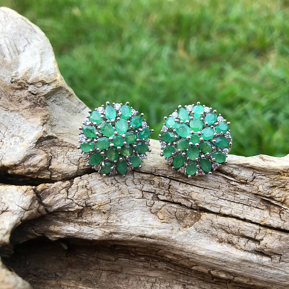 sterling silver natural Green emeralds cz stud earrings