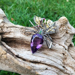 Sterling silver amethyst emerald rhodolite spider brooch pin art to wear Collectible
