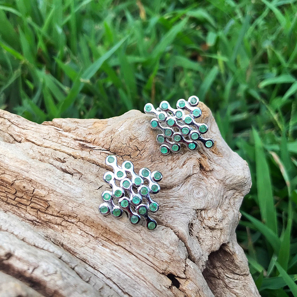 Sterling silver  Natural emeralds Stud Earrings