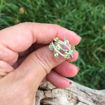 Handmade Sterling Silver Natural green peridot ring 7.5