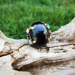 sterling silver statement black spinel opal  oversize ring 8.5 wow factor piece