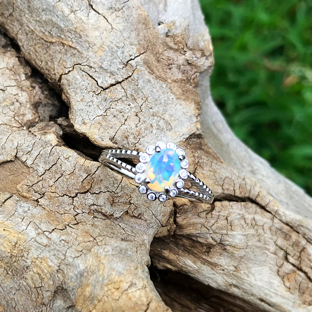 Sterling Silver natural opal CZ promise ring engagement 8