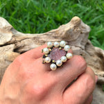 Sterling Silver Natural pink tourmaline Fish carved Art white pearl statement ring