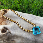 Sterling silver 24Kt Gold plate blue topaz  Modernist necklace collar