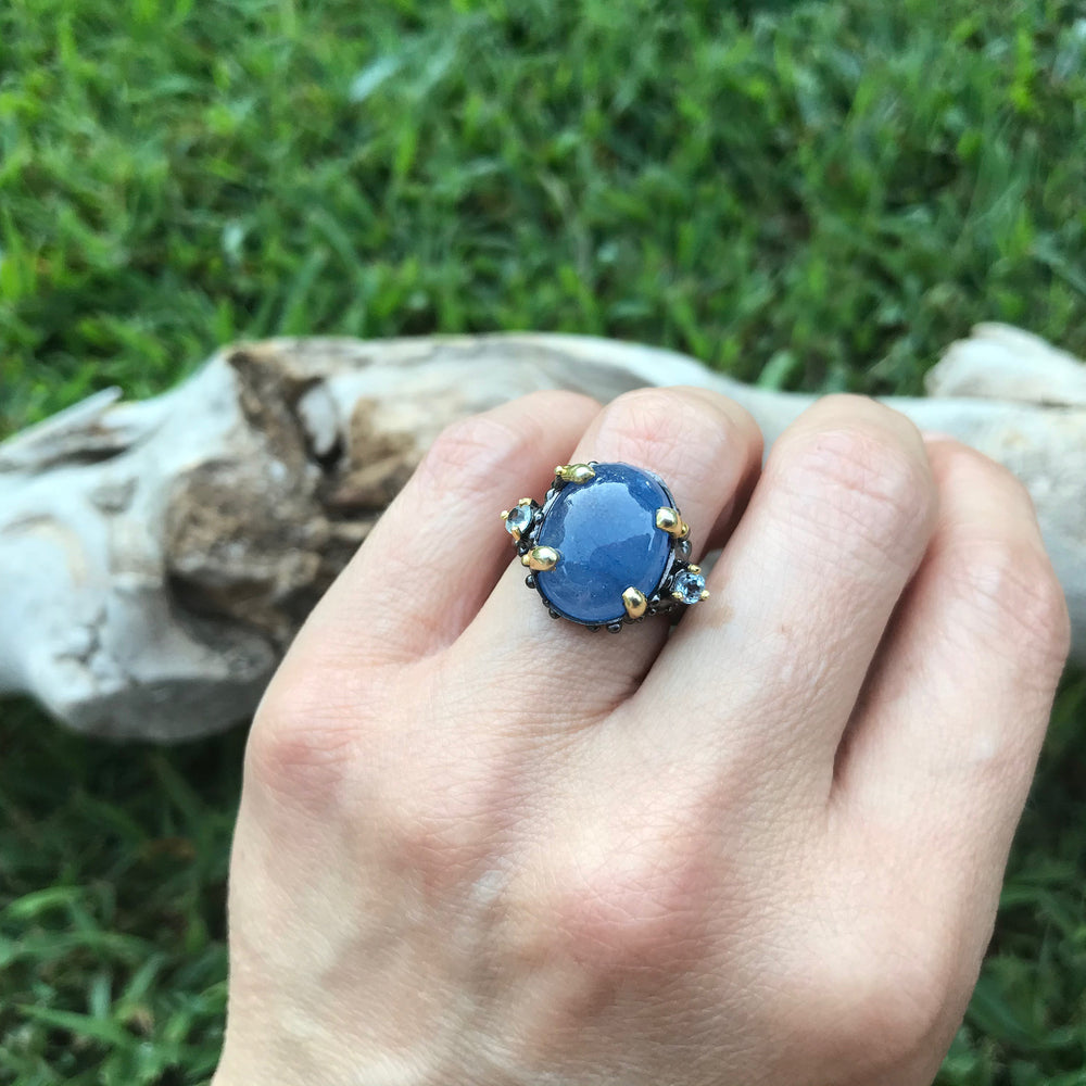Handmade Sterling Silver Natural Blue Sapphire topaz  Ring 6.5
