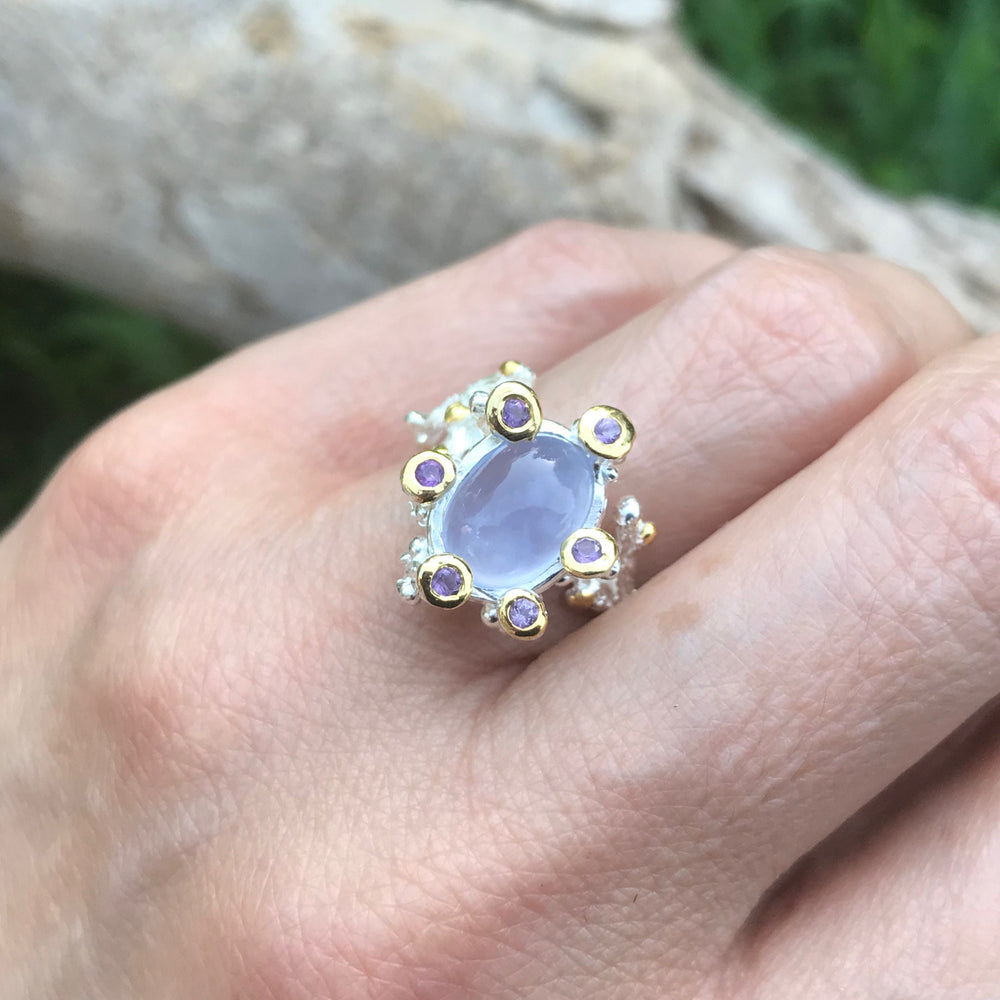 Handmade sterling silver Natural chalcedony amethyst ring  7