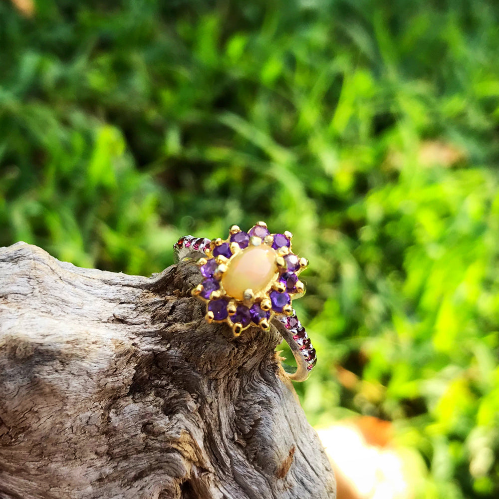 Handmade Sterling Silver rainbow Natural Opal Amethyst ring 7