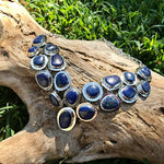 sterling silver Statement Natural Blue Lapis Lazuli  Necklace Collar