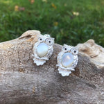Artisan Handmade Sterling Silver Mother of pearl hoot owl  large stud earrings