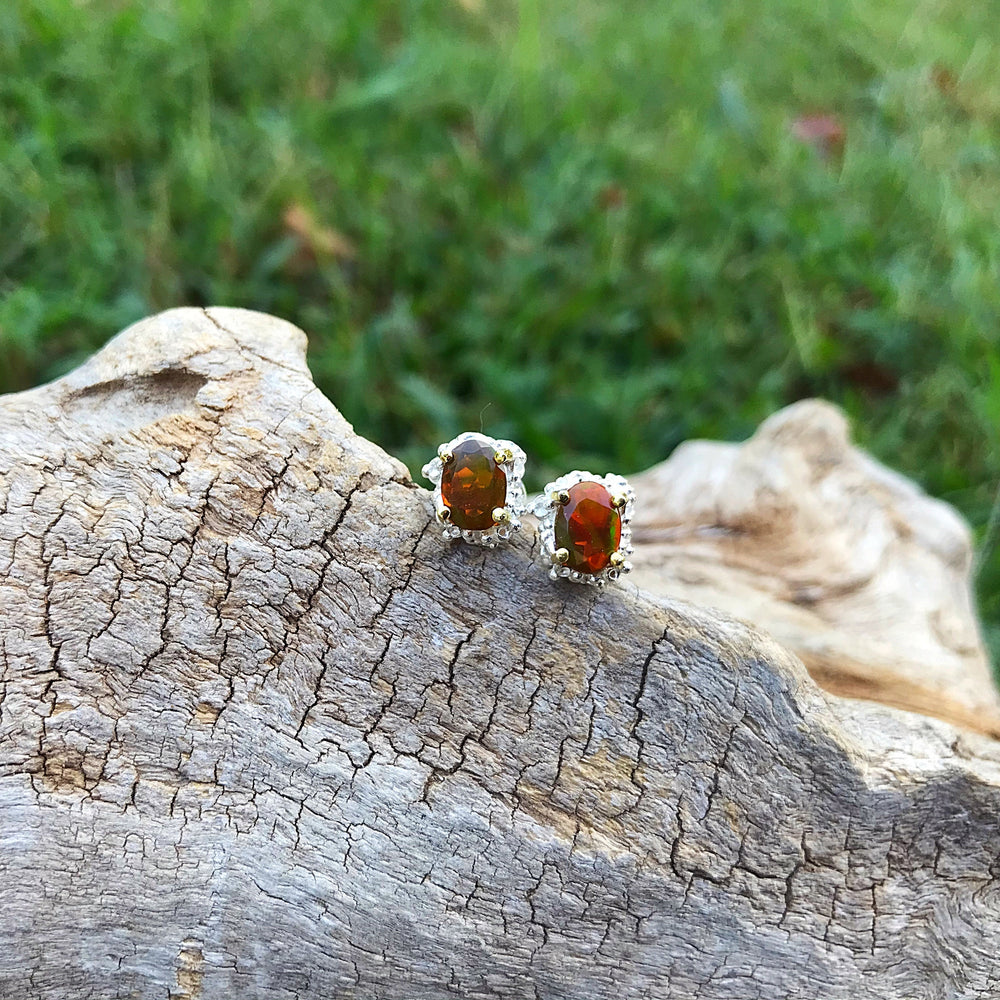 Sterling Silver organic Orange natural rainbow Opal small  stud Earrings