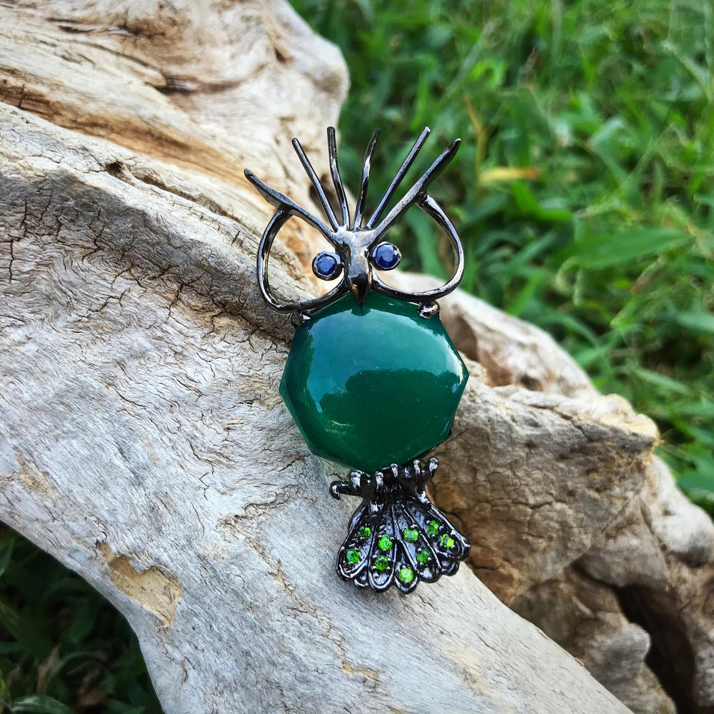 Artisan sterling silver green onyx blue sapphire  Pin  brooch