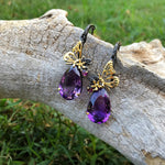 Sterling silver gold Amethyst Rhodolite butterfly  Earrings
