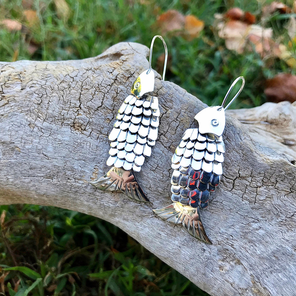 sterling silver Modernist large fish scale earrings